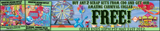 Buy any 2 scrap kits in the CDO store and we will send you our amazing Carnival themed collab for FREE!!!