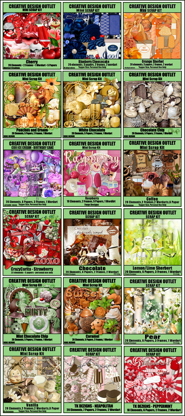 Just buy ANY of our new Ice Cream scrap kits and email in your order and we will send you the matching alpha FREE!! This offer ends on 10pm PST 31st May 2013 - 1 week from today!