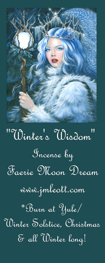"3rd place: 1 Package of ""Winter's Wisdom"" incense, made especially for JM Leotti based on the 'symbols' in her artwork.  1 cross-stitch pattern made from my original art, ""Winter's Wisdom."" Designed by Heaven and Earth Designs."