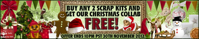 if you buy any 2 scrap kits this month and we will automatically send you the Christmas collab for FREE!